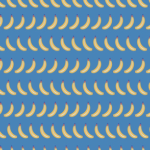 Bananas lined up on a blue background. Bananas in a row. Fruit pattern.
