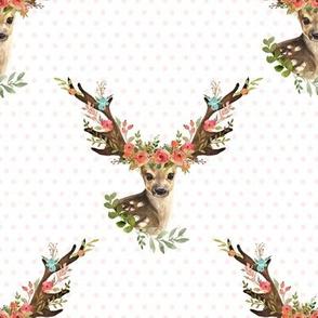 """8"""" Woodland Dreams Deer - Blush Polka Dots"""