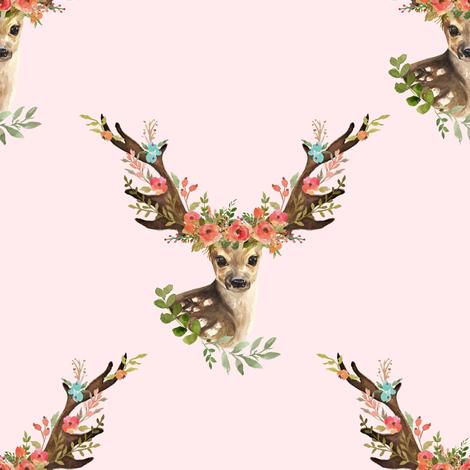 "8"" Woodland Dreams Deer - Blush fabric by shopcabin on Spoonflower - custom fabric"