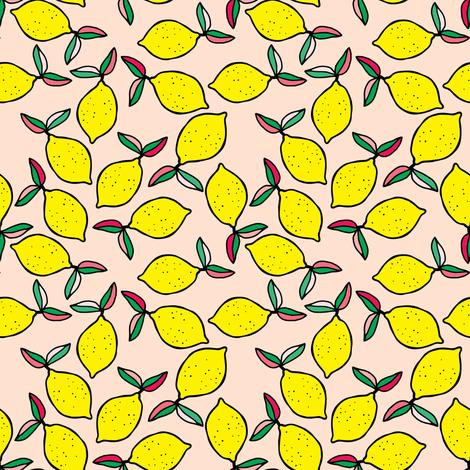 "4"" Summer Lemons - Peachy Pink fabric by rebelmod on Spoonflower - custom fabric"