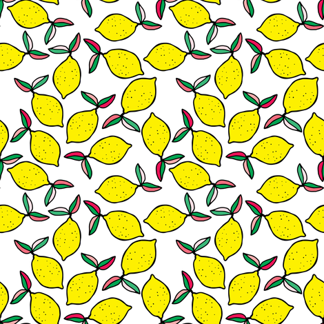 "4"" Summer Lemons - White fabric by rebelmod on Spoonflower - custom fabric"
