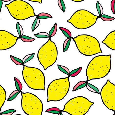 """8"""" Summer Lemons - White fabric by rebelmod on Spoonflower - custom fabric"""