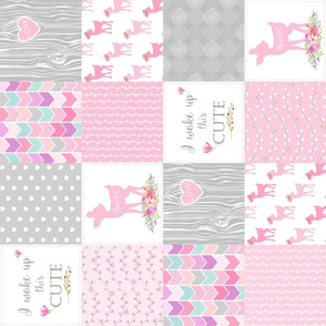 Pink Baby Girl Quilt – I Woke Up This Cute – Deer Patchwork Floral Wholecloth (rotated)