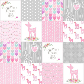 Baby Deer Wholecloth – I Love You a Bushel and a Peck – Pink Fawn Quilt Patchwork