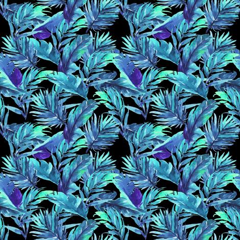 "4"" Aqua Leaves - Black fabric by rebelmod on Spoonflower - custom fabric"