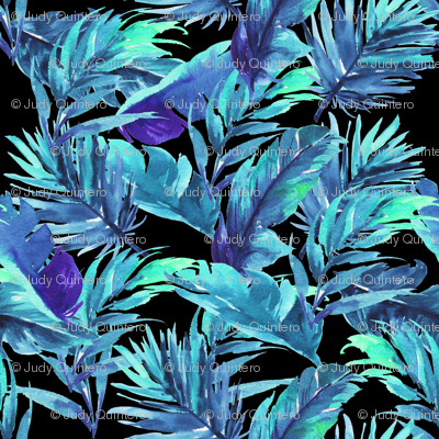"8"" Aqua Leaves - Black"
