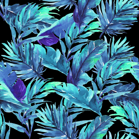 "8"" Aqua Leaves - Black fabric by rebelmod on Spoonflower - custom fabric"