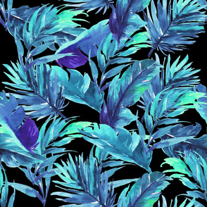 "36"" Aqua Leaves - Black"