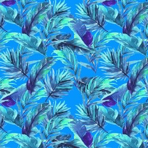 "4"" Aqua Leaves - Bright Blue"