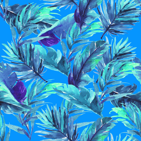 "8"" Aqua Leaves - Bright Blue fabric by rebelmod on Spoonflower - custom fabric"