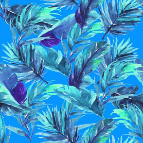 "10.5"" Aqua Leaves - Bright Blue"