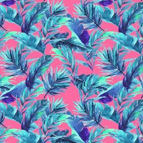 "4"" Aqua Leaves - Bright Pink"