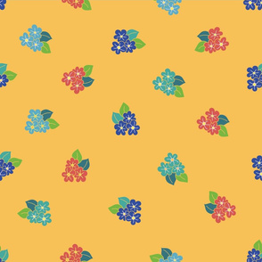 Scattered blue and red flowers on a yellow background