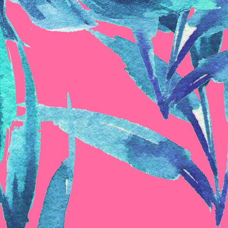 "36"" Aqua Leaves - Bright Pink fabric by rebelmod on Spoonflower - custom fabric"