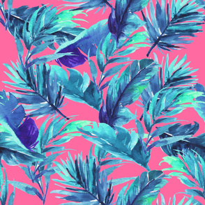 "36"" Aqua Leaves - Bright Pink"