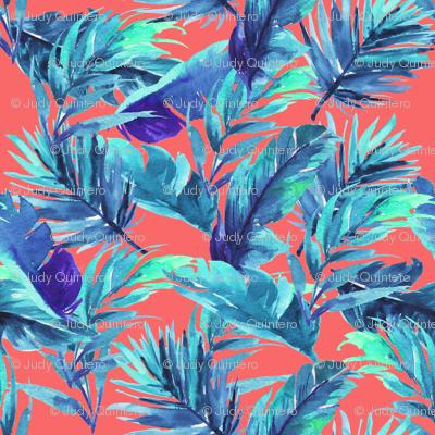 """4"""" Aqua Leaves - Coral"""