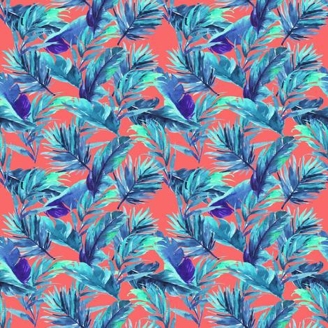 "4"" Aqua Leaves - Coral fabric by rebelmod on Spoonflower - custom fabric"