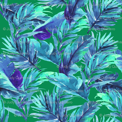 "36"" Aqua Leaves - Green"