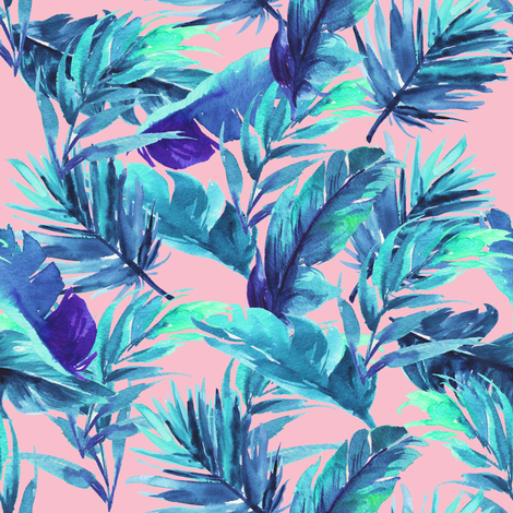 "8"" Aqua Leaves - Pink fabric by rebelmod on Spoonflower - custom fabric"