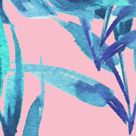 "36"" Aqua Leaves - Pink fabric by rebelmod on Spoonflower - custom fabric"