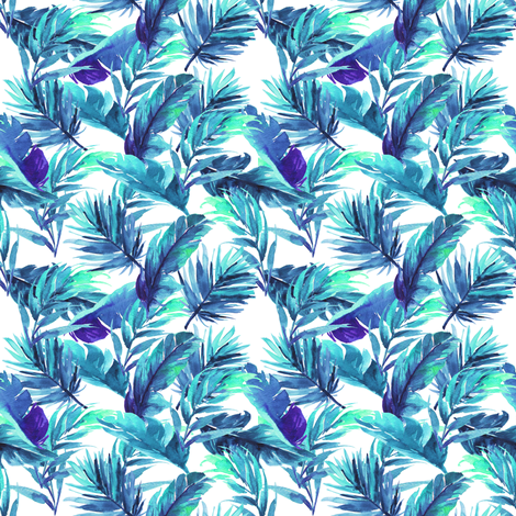 "4"" Aqua Leaves - White fabric by rebelmod on Spoonflower - custom fabric"