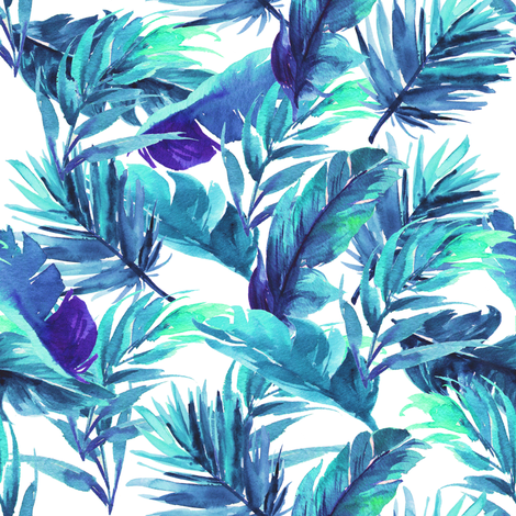"8"" Aqua Leaves - White fabric by rebelmod on Spoonflower - custom fabric"