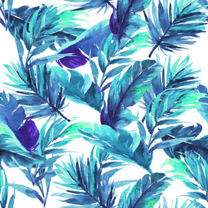 "36"" Aqua Leaves - White"