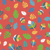 Tropical leaves on a red background. Green, blue, teal, yellow, and white leaves on red. Leaf pattern. Jungle leaves.