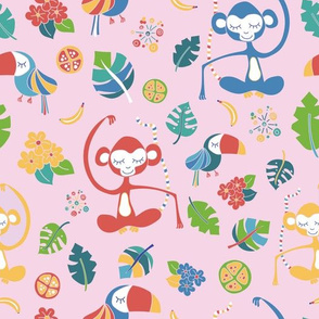 Monkeys toucans tropical flowers bananas jungle leaves tropical fruits on a pink background. Meditating monkey. Cute girl pattern. Nursery.