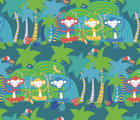 Monkeys and toucans in the tropical forest. Jungle leaves bananas tropical fruits palm trees. Meditating monkeys. Cute kids pattern. Nursery. fabric by sandra_hutter_designs on Spoonflower - custom fabric