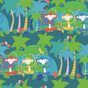 Monkeys and toucans in the tropical forest. Jungle leaves bananas tropical fruits palm trees. Meditating monkeys. Cute kids pattern. Nursery.