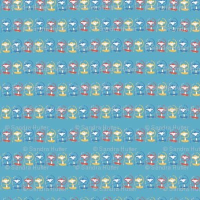 Meditating monkeys in a row on a blue background.