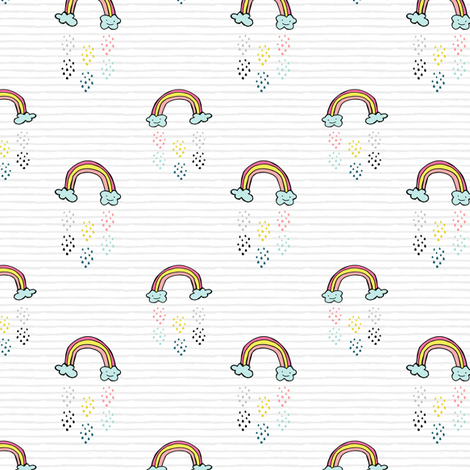 "3"" Smiling Rainbow - Grey Stripes fabric by rebelmod on Spoonflower - custom fabric"