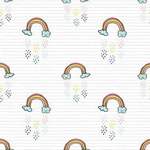 "3"" Smiling Rainbow - Grey Stripes"