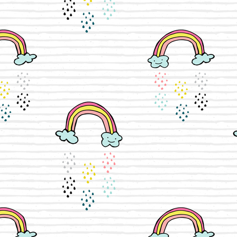 "6"" Smiling Rainbow - Grey Stripes fabric by rebelmod on Spoonflower - custom fabric"