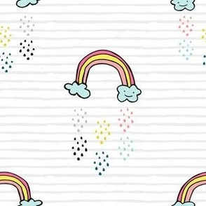 "6"" Smiling Rainbow - Grey Stripes"