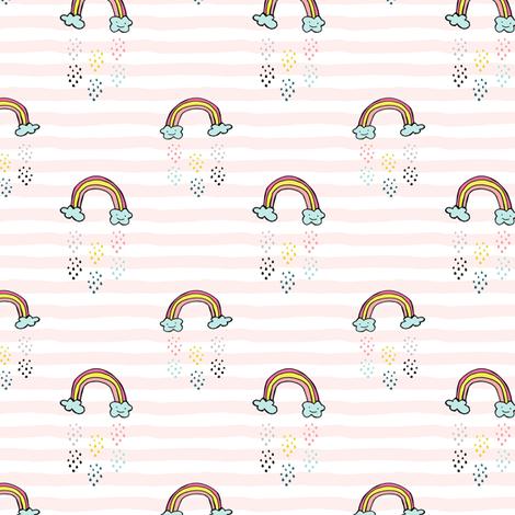 "3"" Smiling Rainbow - Pink Stripes fabric by rebelmod on Spoonflower - custom fabric"
