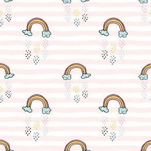 "3"" Smiling Rainbow - Pink Stripes"