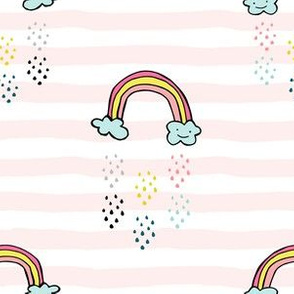 "6"" Smiling Rainbow - Pink Stripes"