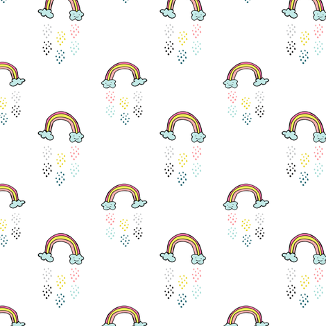 "3"" Smiling Rainbow - White fabric by rebelmod on Spoonflower - custom fabric"