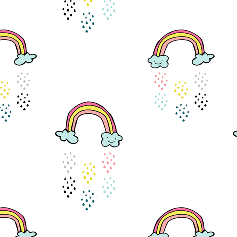"6"" Smiling Rainbow - White fabric by rebelmod on Spoonflower - custom fabric"