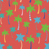 Palm trees on a red background. Colorful palm trees. Green, blue, teal, yellow, and white palm trees on red. Tropical pattern. Summer print.