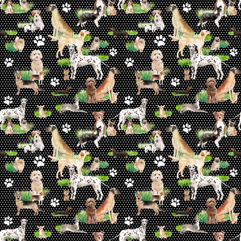 "4"" Besties - Black with White Polka Dots fabric by rebelmod on Spoonflower - custom fabric"