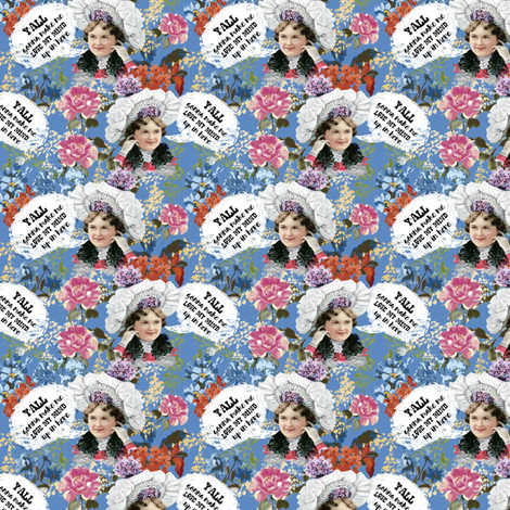 """3"""" Y'all Gonna Make Me Lose My Mind - Blue fabric by rebelmod on Spoonflower - custom fabric"""