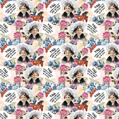 """3"""" Y'all Gonna Make Me Lose My Mind - Blush Pink fabric by rebelmod on Spoonflower - custom fabric"""