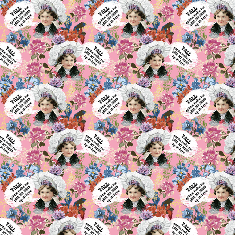 "3"" Y'all Gonna Make Me Lose My Mind - Pink fabric by rebelmod on Spoonflower - custom fabric"