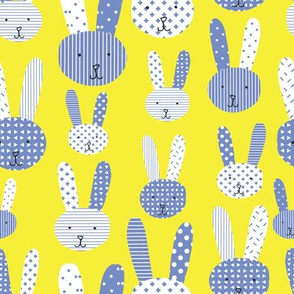 Blue bunnies. Collage bunnies. Doodle bunny. Blue bunnies on a lime background. Blue rabbit. Cute babies and children's fabric.