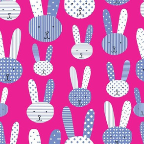 Cute blue doodle bunnies on a pink background. Collage bunny. Blue bunnies on a lime background. Blue rabbit. Babies and children's print