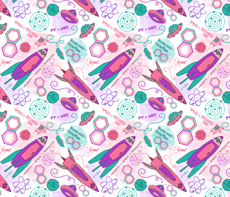 Physics girl, medium fabric by palifino on Spoonflower - custom fabric