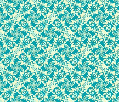 Rteal-blue-skull-crossbones-plaid-pirate-for-kids-punk-print-fabric-and-wallpaper-by-borderlines-original-and-rock-n-roll-textile-design_shop_preview